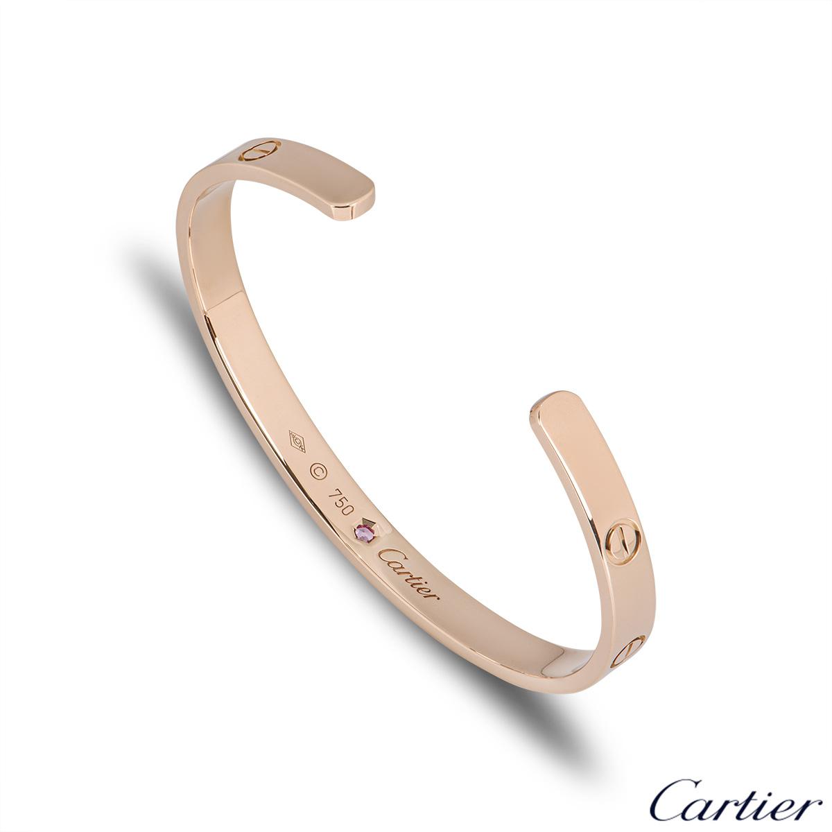 Cartier Rose Gold Pink Sapphire Cuff Love Bracelet Size 18 B6030018